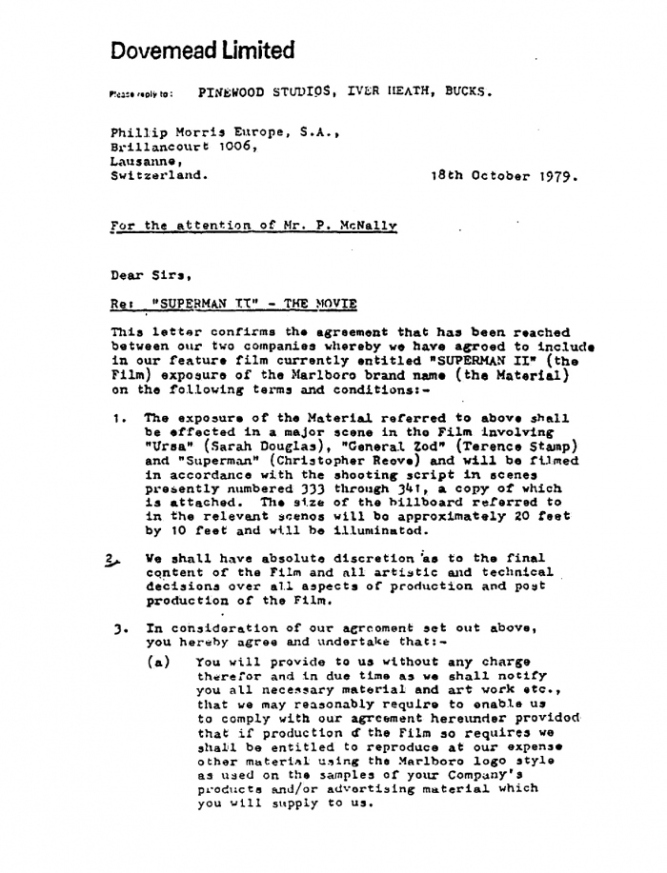 19791018supermancontractletter – Agreement Format Between Two Companies