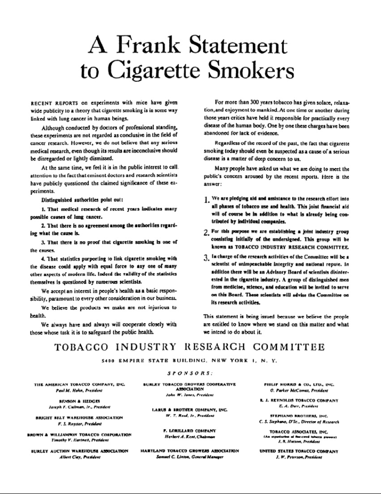 tobacco companies held responsible